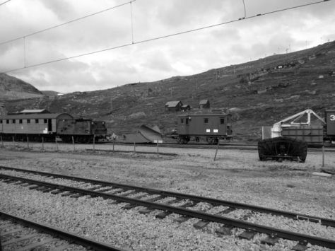 Retire trains parked at Finse.