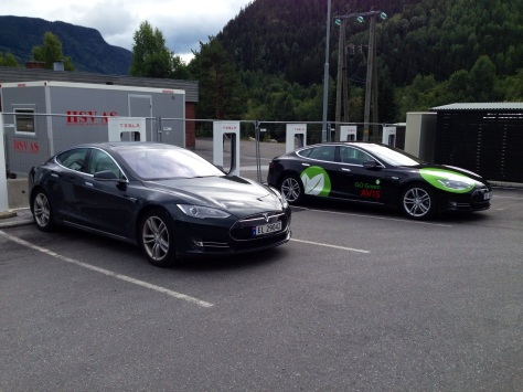 Tesla at the charger